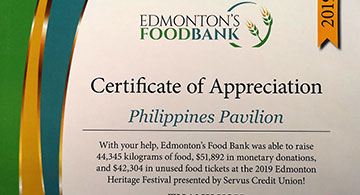 Edmonton Heritage Festival Thanks Congress of the Philippine Associations of Alberta (COPAA)
