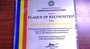 COMELEC Acknowledges DFA Contribution of Overseas Voting