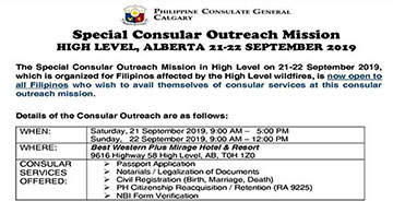Special Consular Outreach Mission High Level, Alberta 21-22 September 2019