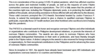 Deadline Extended for Submission of Nominations for the Presidential Awards for Filipino Individuals and Organization Overseas (PAFIOO)